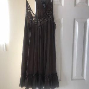 Mocha dress with silver beading